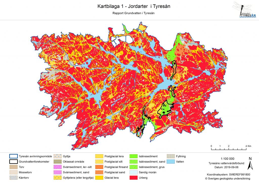 Grundvatten i Tyresån 2019 Kartbilaga